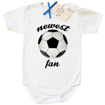 "Soccer baby bodysuit saying ""neweset soccer fan"", soccer baby soccer baby one piece bodysuit sport baby creeper sports baby baby shower idea"