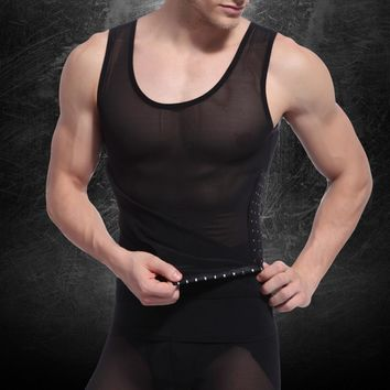 Mens Body Shaper Tummy Girdle Corset Vest Shapewear Underwear Compression Shirts Sleeveless