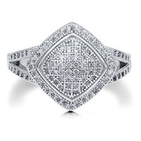 Sterling Silver Square Shaped Micro Pave Cubic Zirconia Fashion Ring #r497