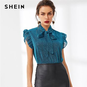 SHEIN Blue Tie Neck Ruffle Armhole Glitter Top Elegant Party Stand Collar Cap Sleeve Blouse Women Summer Workwear Blouses