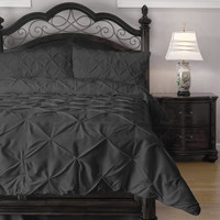 Queen Size 4 Piece Charcoal Microfiber Comforter Set with P-inch Pleat Puckering