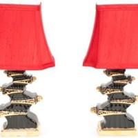One Kings Lane - Chic Shop by Hillary Thomas - 1960s Black & Gold Lamps, Pair