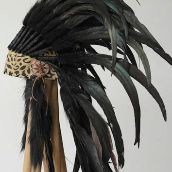 Leopard Leather Front Full Black Feather Headdress by Paradise Gypsies