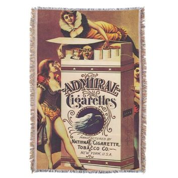 admiral cigarretes vintage poster throw blanket