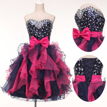 Short Organza Sequins Evening Formal Bridesmaid Pageant Gown Prom Party Dress