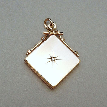 W&H Co Antique Victorian Diamond LOCKET Pendant Watch FOB 10K Gold Filled, Insert Frames, Celluloid Covers Hallmarked 1904