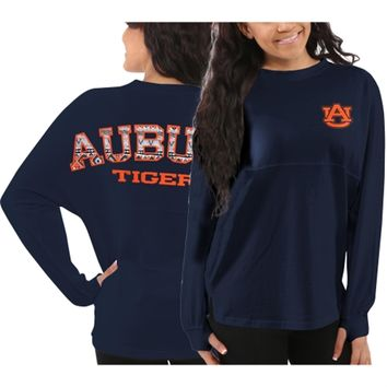 Auburn Tigers Women's Aztec Sweeper Long Sleeve Oversized Top - Navy Blue