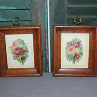 Pair of wood framed flower wall decor. floral decor, rustic decor, country chic decor