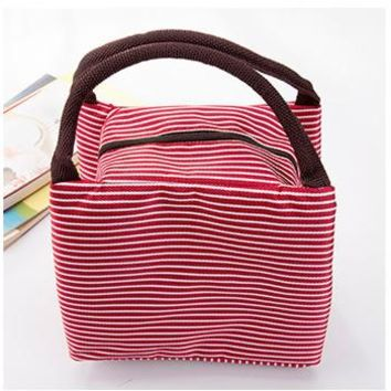 Leisure Women Portable Lunch Bag Canvas Stripe Insulated Cooler Bags Thermal Food Picnic Lunch Bags Kids Lunch Box Bag
