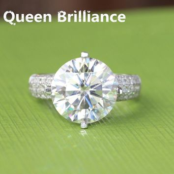 14KT White Gold 6 Carat Hearts & Arrows  Lab Grown Moissanite Diamond Ring W/ Real Diamond Accents