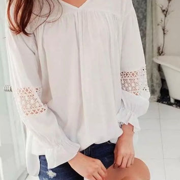 White Lace Patchwork Ruffle Flare Sleeve Cotton Blouse