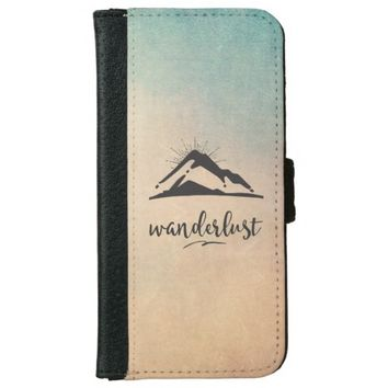 Mountain with Sunrays Wanderlust Typography Wallet Phone Case For iPhone 6/6s