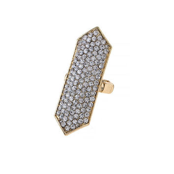 CRYSTAL PAVE GEOMETRIC STRETCH RING