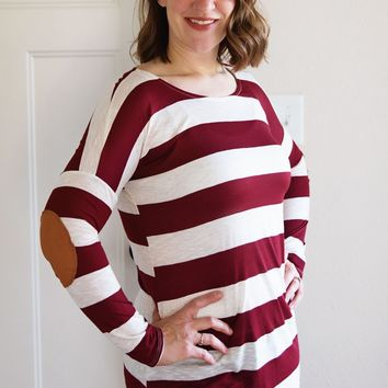 Burgundy Stripe Tunic with Elbow Patch