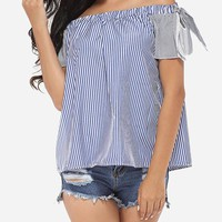 Casual Bowknot Off Shoulder Dacron Striped Short-sleeve-t-shirt