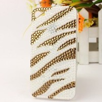 3D Bling Crystal iPhone Case for AT&T Verizon Sprint Apple iPhone 4/4S Gold and White Zebra Print