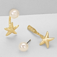 Star Double Sided Pearl Earrings Gold