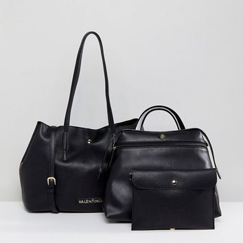 Valentino by Mario Valentino Slouchy 3 in 1 Tote Bag in Black at asos.com
