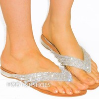 Dazzling Unique Rhinestone Sandal*Beach Wedding*Comfy Flip Flop Thong