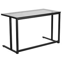 Glass Desk with Pedestal Frame