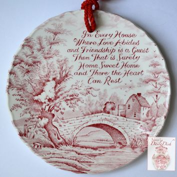 Vintage Red Toile Transferware Plaque English Ironstone Where The Heart Can Rest - Home - Poem