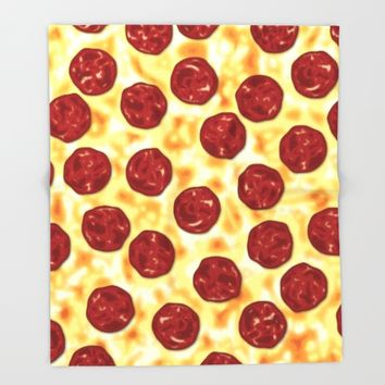 Pepperoni Pizza Pattern Throw Blanket by Tees2go