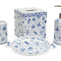 One Kings Lane - The Glamorous Bath - Floral Bathroom Set, Blue & White