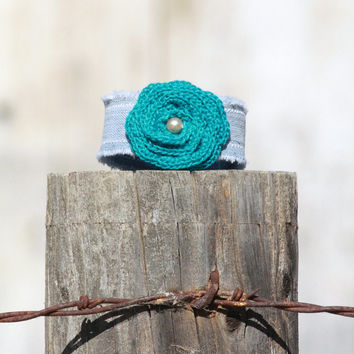 Denim Wrist Cuff With Turquoise Crocheted Rose - Bracelet - Corsage - Jewelry Recycle