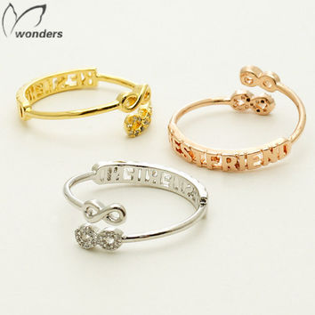 Simple Vintage Gold Plated Pinky Engrave Best Friend Infinity Crystal Championship Rings For Women BFF Son Of Anarchy Bague