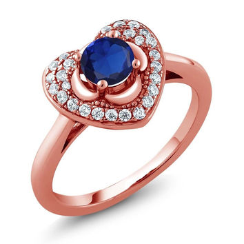 0.87 Ct Round Blue Simulated Sapphire 18K Rose Gold Plated Silver Heart Ring