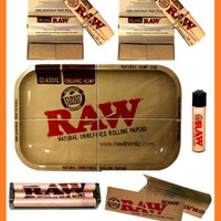 RAW METAL TRAY + ORGANIC ROLLING PAPER W FILTER TIPS + HEMP ROLLER + RAW LIGHTER