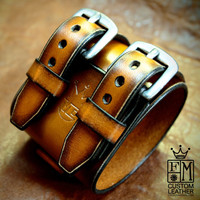 Leather cuff bracelet Johnny Depp style Pirate wristband Best quality Made in NYC for You by Freddie Matara