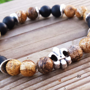 Fleur De Lis Picture Jasper Black Matte Onyx Beaded Men Mala Fall Gifts Mens gemstones Bracelets Gifts For Him