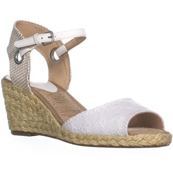 Lucky Brand Kyndra Wedge Sandals, White/Natural, 11 US / 41 EU