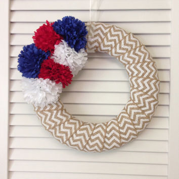 FREE SHIPPING! Chevron Patriotic Wreath, Modern White Chevron Summer Wreath, Fourth of July Wreath, Chevron Summer Wreath, Red White Blue