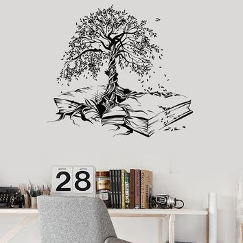 Vinyl Wall Decal Tree Book Leaves Knowledge Library Reading Room Stickers Mural Unique Gift (ig5200)