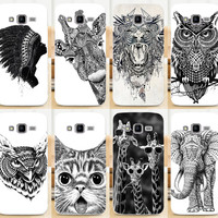HOT Print Animal Owl Giraffe Cat Elephant Hedgehog Phone Cases Covers For Samsung Galaxy Core Prime G3608 G3606 G360 Case Cover