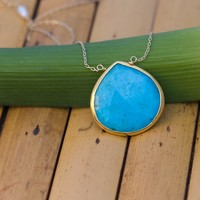 Faceted Bezel Set Turquoise Necklace - 14k Gold Filled Chain