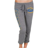San Diego Chargers Ladies Football Script Tri-Blend Cropped Pants - Gray