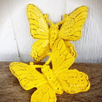 Sunny Canary Yellow Shabby Chic Butterfly Wall Decor - Spring Hand Painted Cast Iron 3D Wall Art
