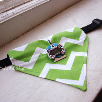 Handmade Dog Bandana with Space for Tags - Green Chevron Velcro Over the Collar Dog Bandanna w ID Tag Slot Pet Accessories Cat Accessory