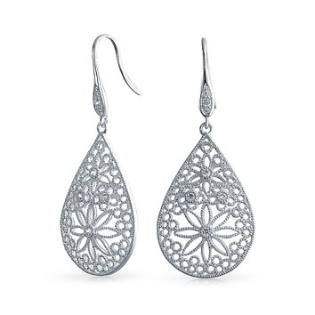 Boho Large Flower Filigree Dangle Earring French Wire Sterling Silver