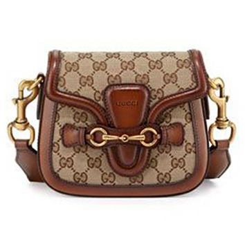 GUCCI Popular Women Shopping Bag Leather Satchel Shoulder Bag Crossbody Brown
