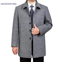 Men Woolen Jacket Square Collar Single Breasted Wool Coat Sections Men's Coats & Jackets Overcoat