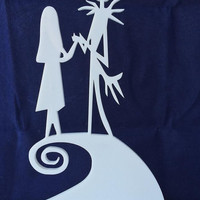The Nightmare Before Christmas - Jack Skellington & Sally On Hill -  Disney - Cake Topper - Acrylic - Wedding