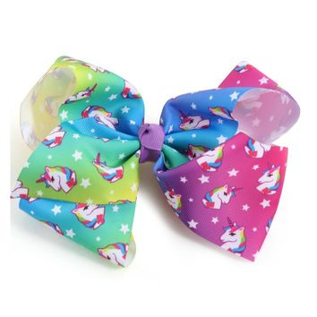 2018 Newest Big bowknot hairpins girl barrettes large colorful cute unicorn bow hair clip Hair Accessories 8 Inch