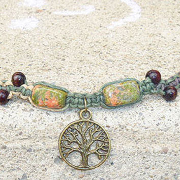 Cute Earthy Colored Brass Tree of Life Hemp Bracelet or Anklet   handmade jewelry  hippie