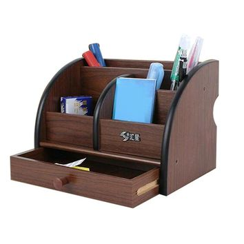 Fine Wool 5 Block Cherry Wood Pen Parallel-Chord Pen Holder Desktop Storage Box Storage Box Pen Stands Pen Pot with Drawer