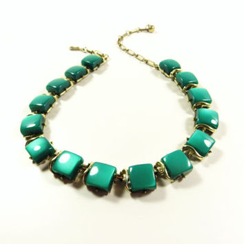 Vintage Coro Green Moonglow Thermoset Necklace, Emerald Green Choker, Square Design Necklace