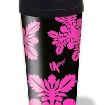 Pink and Black Floral Insulated Tumbler